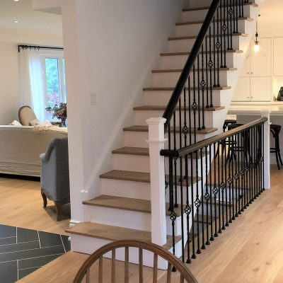 home remodeling, refinishing, living room stairs in residential home renovation Oakville