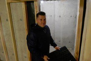 wine cellar door and sub floor