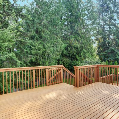 wooden deck behind house in Oakville
