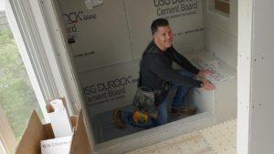 Eastview Homes - installing shower bench in residential home make-over