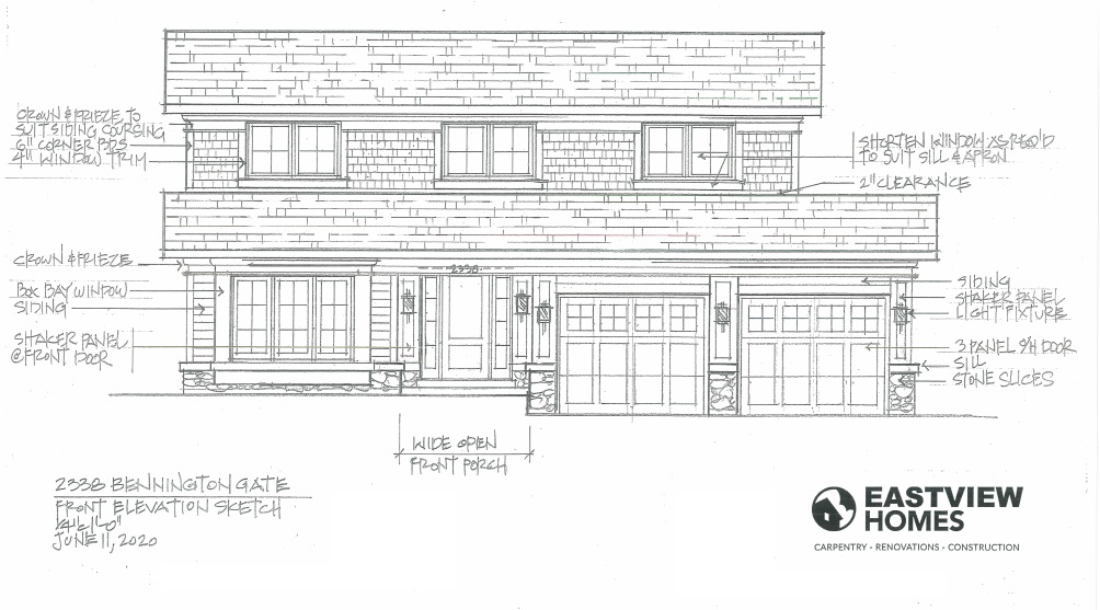 architectural drawing of two story house