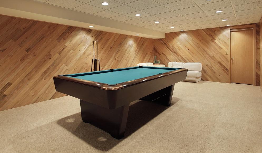 billards room in renovated basement