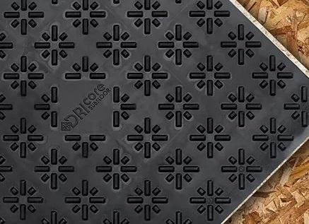 Dricore basement subfloor showing tread pattern