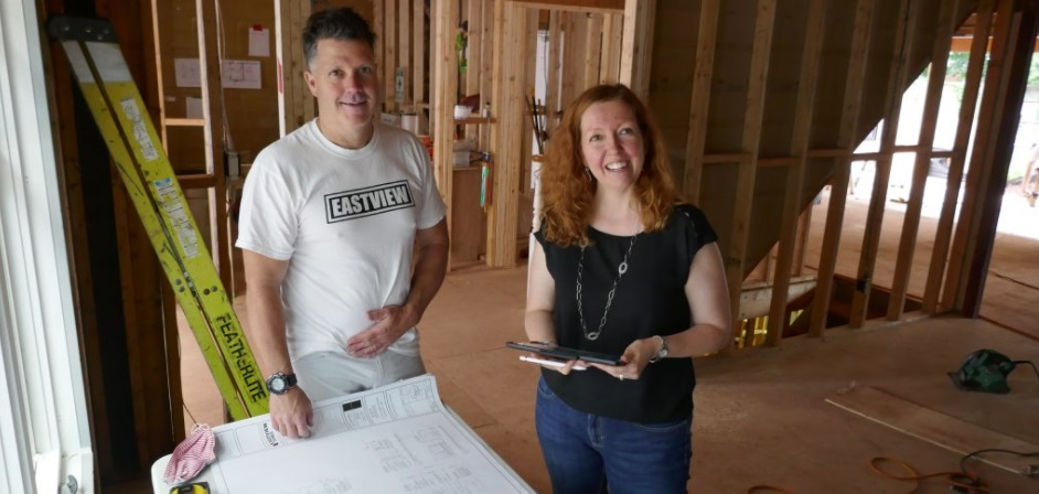 building manager with interior designer on job site in oakville