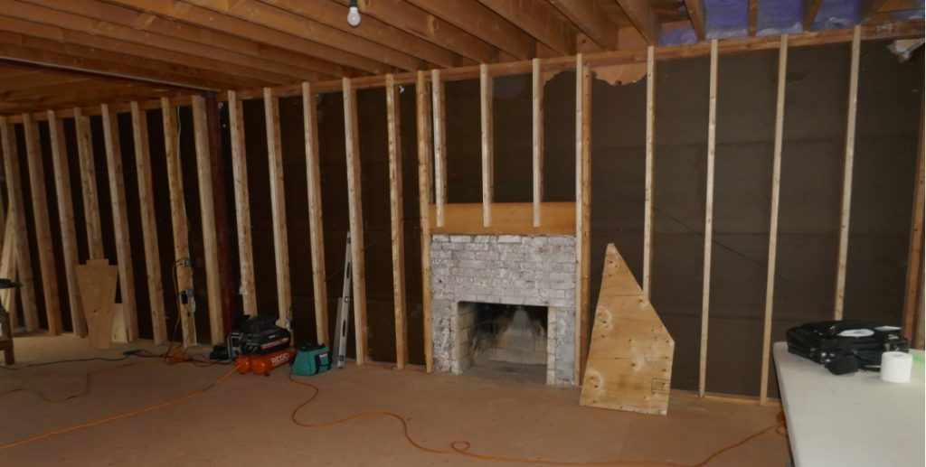 Interior wall is framed for fireplace and television