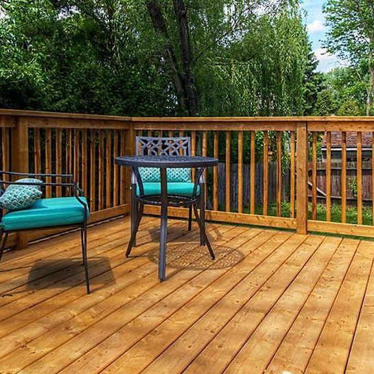 backyard wooden deck finished