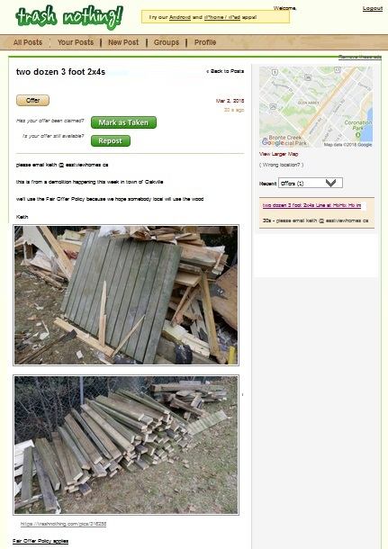 free wood in burlington demolition site